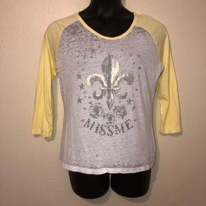 Miss Me rhinestone L yellow white silver shirt